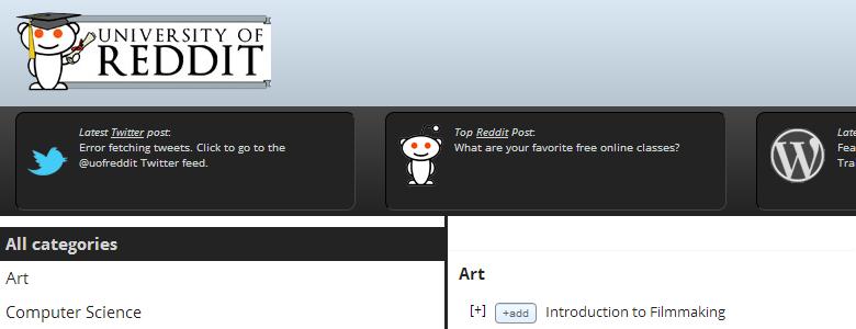 University of Reddit - безплатни курсове онлайн