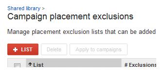 Добавяне на изключения в кампания