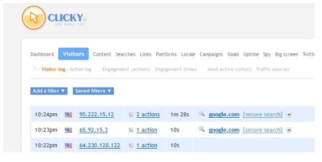 Clicky - кои IP адреси посещават сайта ви