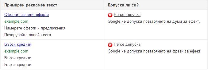 Повтаряне на думи в Google Adwords