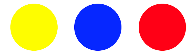 основни цветове - жълто, синьо, червено