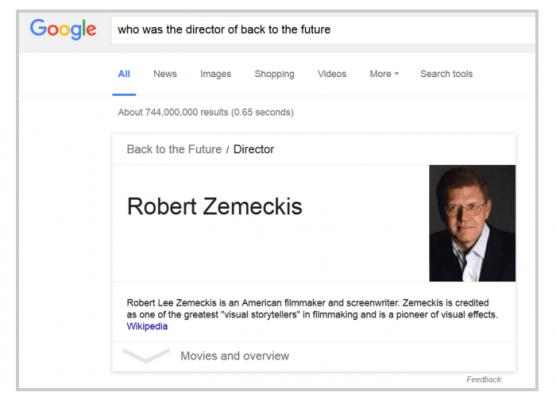 Резултат от Семантичното търсене в Google