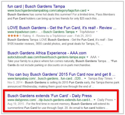 "Класиране за ""Busch Gardens fun card"""