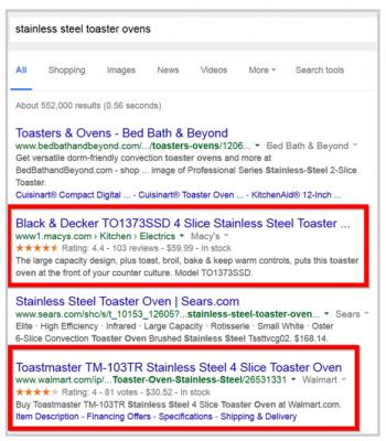"Резултати в Google при търсене за ""stainless steel toaster ovens"""