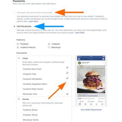 Избор на места за показване на Messenger рекламите