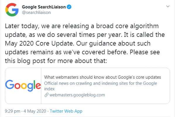 Google анонсира в Twitter May 2020 Core Update