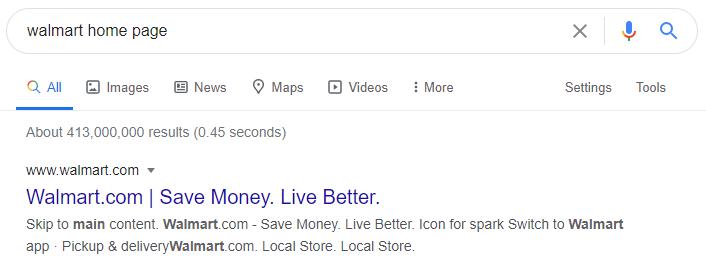 Google резултат при търсене за walmart home page