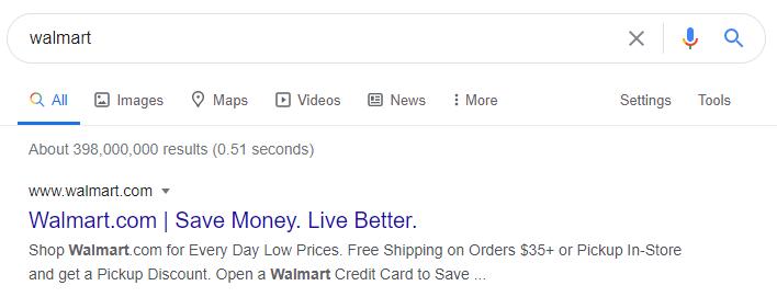 Google резултат при търсене за walmart
