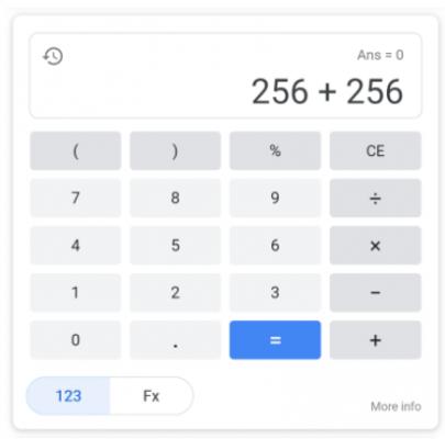 Google калкулатор в резултатите от търсене на мобилно