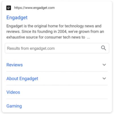 Резултат в Google с допълнителни линкове към вътрешни страници