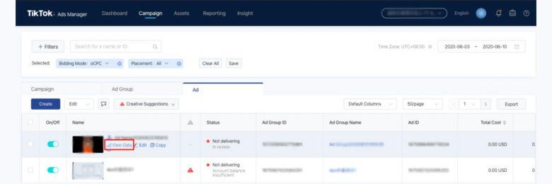 TikTok Ads Manager интерфейс